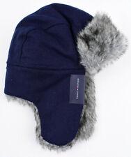 TOMMY HILFIGER Men's Women's Trapper Hat, Navy Blue, Faux Fur Lined