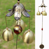 3 Copper Bells Metal Wind Chimes Outdoor Yard Garden Home Decor Ornament 18inch
