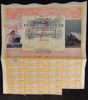 France French 1915 Claridges Hotels Paris 1000000 Francs Coupons UNC Bond Share