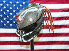predator motorcycle helmet v5 kevlars red fiber optic dreads