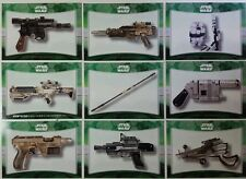 Star Wars FORCE AWAKENS SERIES 1 WEAPONS  CARD Sub Set of 10  2015
