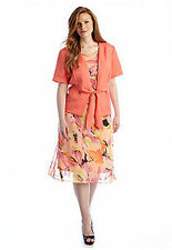 Plus Size Coral Watercolor Print Chiffon Dress & Jacket Day to Dinner  22W