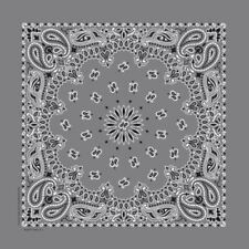 Four Pack Dark Gray Classic Paisley Bandanas FREE SHIPPING Made In The USA!