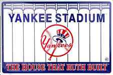 "NEW YORK YANKEES STADIUM SIGN 18"" X 12"" EMBOSSED METAL THE HOUSE THAT RUTH BUILT"