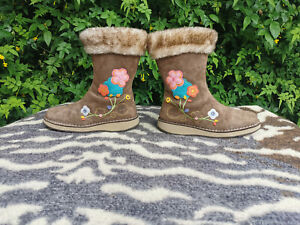 Timberland Brown Suede Leather Embroidered Ankle Boots UK 3 EU 35.5