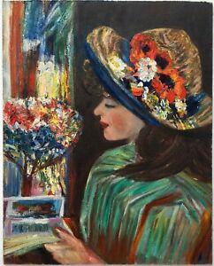 Vintage 60s/70s Modernist Impasto Portrait Oil Painting Lady Flowers Floral Hat