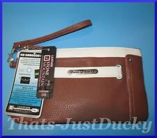 NEW Womens STONE MOUNTAIN Plugged In RFID Two Tone WRISTLET Brown & Bone NWT