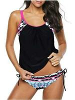 Century Star Women's Two Piece Tankini Swimsuit Floral, Black Red, Size 12.0 whN