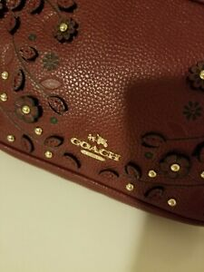 Coach Cerise deep red/maroon Flower Tea Rose Crossbody/shoulder bag. Double zip