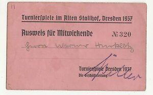 Pièce D'Identité Pour Mitwirkende 1937 Turnierspiele Age Stallhof Dresden