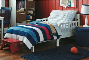 Rugby Stripe 4 Piece Toddler Bedding Set Red White Blue & Tan Circo ~ NEW!