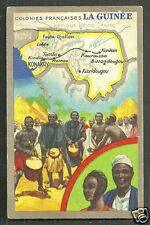 Map card Guinée Guinee People Music Guinea Africa 30s