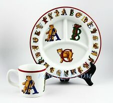 TIFFANY & CO ALPHABET ABC BEARS CHILD DINNER SET DIVIDED PLATE & MUG 1994 MINT