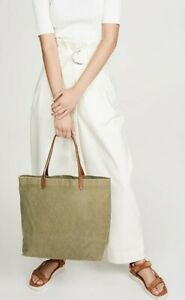 Madewell Womens Canvas Transport Tote Bag Green Phone Pocket Dual Handle