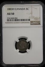 1883 H Canada. 5 Cents. NGC Graded AU-50. (#2)