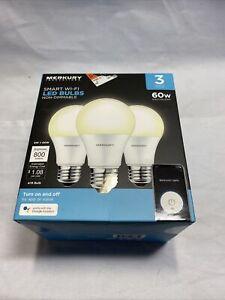 (3 pack) Merkury Innovations Smart Wifi App Controlled Led Light Bulbs
