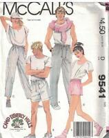 9541 Vintage McCalls Sewing Pattern 1980s Misses Shorts Pants XS Uncut OOP SEW