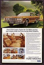 1974 Original Vintage Ford LTD Country Squire Station Wagon Car Photo Print Ad