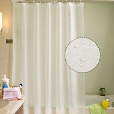 White Shower Curtain New Waterproof Fabric Bathroom Curtain with Free Hooks UK%