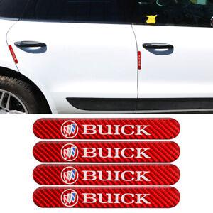4PCS Red BUICK Carbon Fiber Car Side Door Edge Scratch Protector Guard Sticker