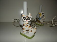 Belle lampe faience décor de Chat des années 50/60 Vintage design