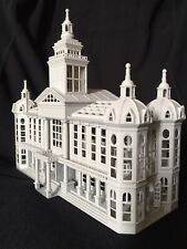Miniature Gray Built Train Model Civic Station Library Depot HO Gauge Scale