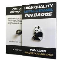 Panda High Quality Metal & Enamel Pin Badge with Secure Locking Back