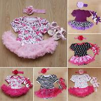 3Pcs ENSEMBLE nouveau né bébé fille barboteuse combinaison jupe tenues bandeau