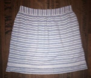 Ladies FAT FACE Nautical Stripe Skirt Cotton Linen Skirt - Fully Lined - Size 10