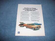 """1973 Oldsmobile Omega Vintage Color Ad """"Meet the New Omega..."""" Olds"""