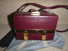 BNWT Alexander McQueen Burgundy Crocodile Effect Leather Box Bag Clutch Hangbag