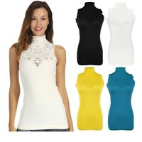 Women Turtle Neck Sleeveless Tank Gym Tops Turtleneck Vest Summer Casual T Shirt