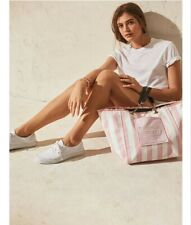 Victoria's Secret Pink White Stripe Canvas Tote Beach Bag June 2020 FREESHIP
