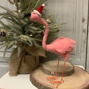 Bendy Neck Pink Felt Flamingo Standing Christmas Decoration Figurine Santa Hat