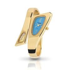 Top Edle Flair Designer Damenuhr Spangenuhr Gold Blau Armbanduhr Uhr #10422
