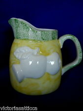 Collectible Hand Painted Yellow & Green Ceramic Milk Pitcher - Embossed Apples