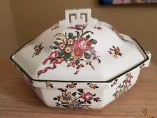 "Covered Vegetable Bowl Royal Doulton OLD LEEDS SPRAYS Flowers Ribbon Green 8.75"""