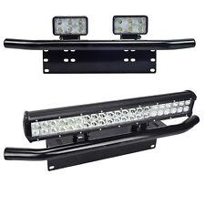 Bull Bar Front Bumper License Plate Mount Bracket Holder LED Light Work Bar Jeep