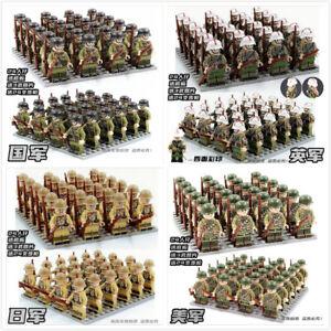24 mattoncini Lego* di soldati tedeschi, britannici e americani nella guerra