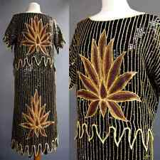 Vtg Zoanon India Silk Beaded Metal Chain Stitch Lotus Flower Dress 2p Set L