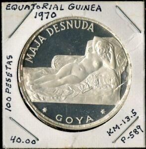 Equatorial Guinea 1970 Silver 100 Pesetas Goya Proof NO RESERVE!