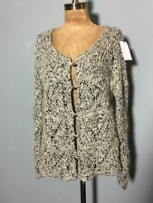 "LOOSE FITTING CARDIGAN SWEATER JUMPER - OATMEAL / BLACK TWEED FLECK 42"" B"