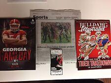 Georgia Bulldogs Football 2016 Auburn Upset Lot with Game Used Ticket