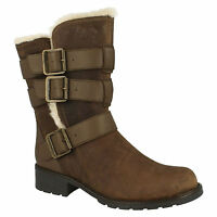 LADIES CLARKS ORINOCO BLOOM ZIP CASUAL FUR UTILITY STYLE MID CALF BOOTS SIZE