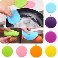Antibacterial Silicone Scrubber Brush Fruit Dishwashing Kitchen Cleaning Sponge