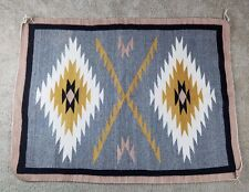 "Verkamp Navajo Blanket 1960's 32""x43"" Double Diamond BEAUTIFUL! Elsie Thompson"