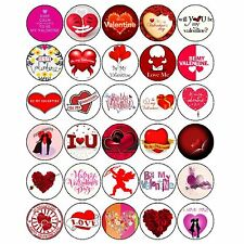 60 Valentines Day Mixed Premium Edible Cupcake Cake Toppers Love Valentine D1