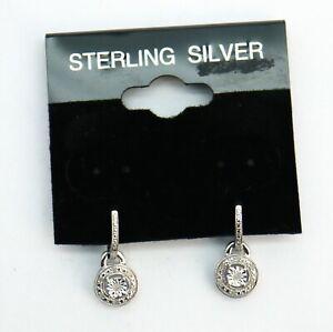 Diamond Halo Sterling Silver Drop Stud Earrings 2.3g