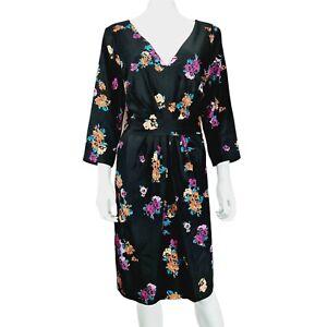 NEW Monsoon Black Floral 3/4 Sleeve Dress UK 18 V-Neck