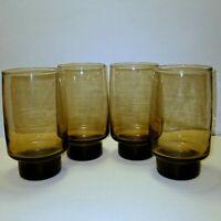 Vintage Libbey Drinking Glasses Tawny Smoke Brown Solid Raised Bottom Set of 4